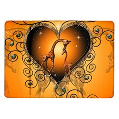 Funny Cute Giraffe With Your Child In A Heart Samsung Galaxy Tab 10.1  P7500 Flip Case