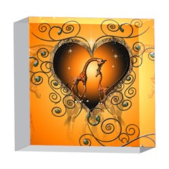 Funny Cute Giraffe With Your Child In A Heart 5  x 5  Acrylic Photo Blocks