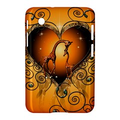Funny Cute Giraffe With Your Child In A Heart Samsung Galaxy Tab 2 (7 ) P3100 Hardshell Case