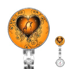 Funny Cute Giraffe With Your Child In A Heart Stainless Steel Nurses Watches
