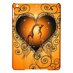 Funny Cute Giraffe With Your Child In A Heart iPad Air Hardshell Cases