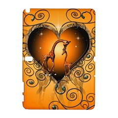 Funny Cute Giraffe With Your Child In A Heart Samsung Galaxy Note 10.1 (P600) Hardshell Case