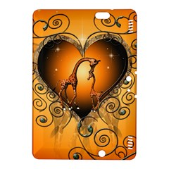 Funny Cute Giraffe With Your Child In A Heart Kindle Fire HDX 8.9  Hardshell Case