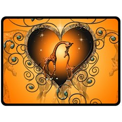 Funny Cute Giraffe With Your Child In A Heart Double Sided Fleece Blanket (Large)