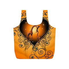 Funny Cute Giraffe With Your Child In A Heart Full Print Recycle Bags (S)