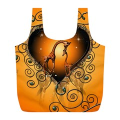Funny Cute Giraffe With Your Child In A Heart Full Print Recycle Bags (l)