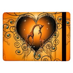 Funny Cute Giraffe With Your Child In A Heart Samsung Galaxy Tab Pro 12 2  Flip Case