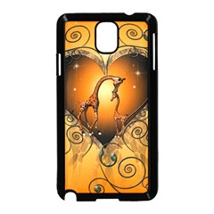 Funny Cute Giraffe With Your Child In A Heart Samsung Galaxy Note 3 Neo Hardshell Case (Black)
