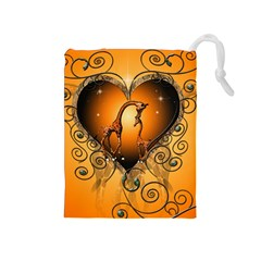 Funny Cute Giraffe With Your Child In A Heart Drawstring Pouches (Medium)