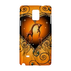 Funny Cute Giraffe With Your Child In A Heart Samsung Galaxy Note 4 Hardshell Case
