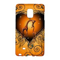 Funny Cute Giraffe With Your Child In A Heart Galaxy Note Edge