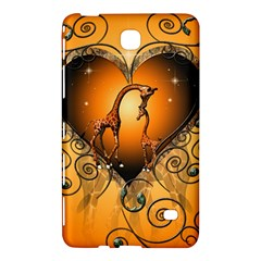 Funny Cute Giraffe With Your Child In A Heart Samsung Galaxy Tab 4 (7 ) Hardshell Case