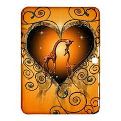 Funny Cute Giraffe With Your Child In A Heart Samsung Galaxy Tab 4 (10.1 ) Hardshell Case