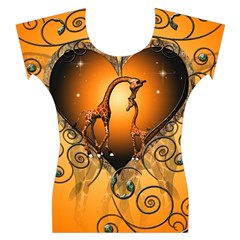 Funny Cute Giraffe With Your Child In A Heart Women s Cap Sleeve Top