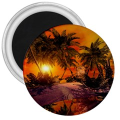 Wonderful Sunset In  A Fantasy World 3  Magnets