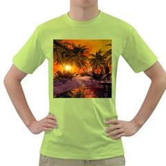 Wonderful Sunset In  A Fantasy World Green T-Shirt