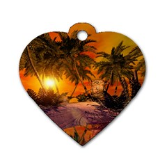 Wonderful Sunset In  A Fantasy World Dog Tag Heart (Two Sides)