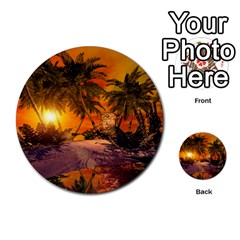 Wonderful Sunset In  A Fantasy World Multi-purpose Cards (Round)