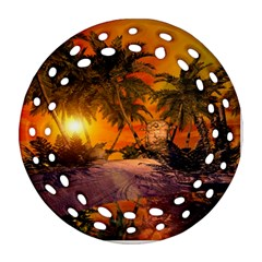 Wonderful Sunset In  A Fantasy World Ornament (round Filigree)