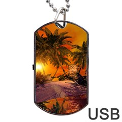 Wonderful Sunset In  A Fantasy World Dog Tag Usb Flash (one Side)
