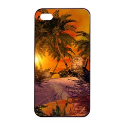 Wonderful Sunset In  A Fantasy World Apple iPhone 4/4s Seamless Case (Black)