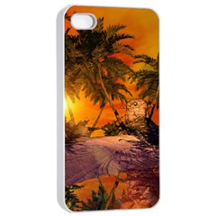 Wonderful Sunset In  A Fantasy World Apple Iphone 4/4s Seamless Case (white)