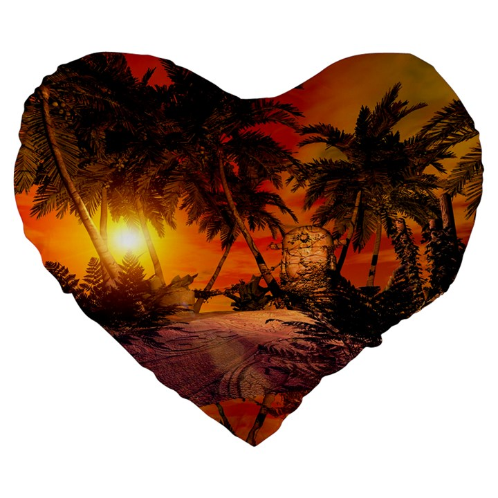 Wonderful Sunset In  A Fantasy World Large 19  Premium Heart Shape Cushions