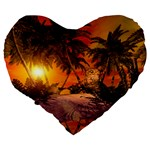 Wonderful Sunset In  A Fantasy World Large 19  Premium Heart Shape Cushions Back