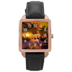 Wonderful Sunset In  A Fantasy World Rose Gold Watches