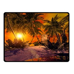 Wonderful Sunset In  A Fantasy World Double Sided Fleece Blanket (small)