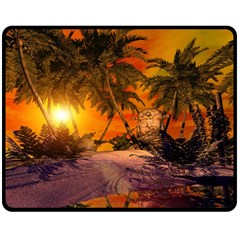 Wonderful Sunset In  A Fantasy World Double Sided Fleece Blanket (medium)