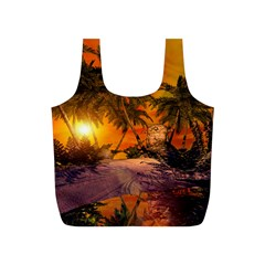 Wonderful Sunset In  A Fantasy World Full Print Recycle Bags (S)