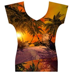 Wonderful Sunset In  A Fantasy World Women s V-Neck Cap Sleeve Top