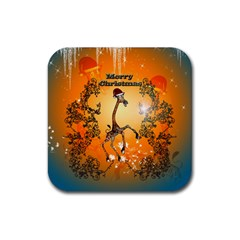 Funny, Cute Christmas Giraffe Rubber Square Coaster (4 pack)