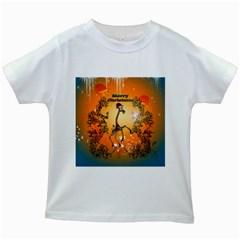 Funny, Cute Christmas Giraffe Kids White T-Shirts