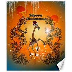 Funny, Cute Christmas Giraffe Canvas 20  X 24