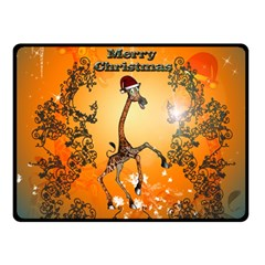 Funny, Cute Christmas Giraffe Fleece Blanket (Small)