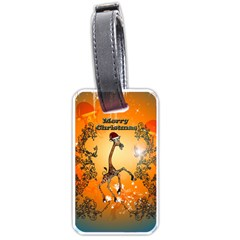 Funny, Cute Christmas Giraffe Luggage Tags (Two Sides)