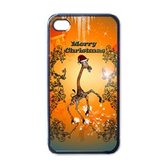 Funny, Cute Christmas Giraffe Apple iPhone 4 Case (Black)