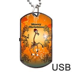 Funny, Cute Christmas Giraffe Dog Tag USB Flash (One Side)