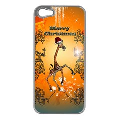 Funny, Cute Christmas Giraffe Apple iPhone 5 Case (Silver)
