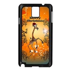 Funny, Cute Christmas Giraffe Samsung Galaxy Note 3 N9005 Case (Black)
