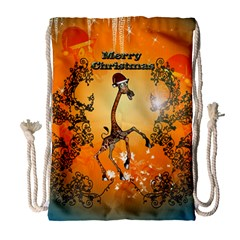 Funny, Cute Christmas Giraffe Drawstring Bag (Large)