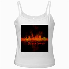 Barcelona City Dark Watercolor Skyline White Spaghetti Tanks