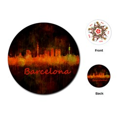 Barcelona City Dark Watercolor Skyline Playing Cards (Round)