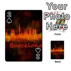 Barcelona City Dark Watercolor Skyline Playing Cards 54 Designs
