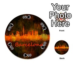 Barcelona City Dark Watercolor Skyline Playing Cards 54 (Round)