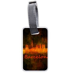 Barcelona City Dark Watercolor Skyline Luggage Tags (Two Sides)