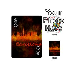 Barcelona City Dark Watercolor Skyline Playing Cards 54 (Mini)