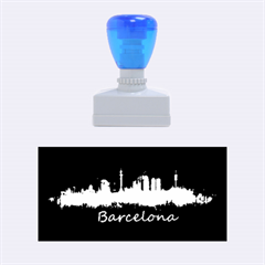 Barcelona City Dark Watercolor Skyline Rubber Stamps (medium)